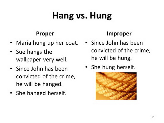 Hanged vs Hung